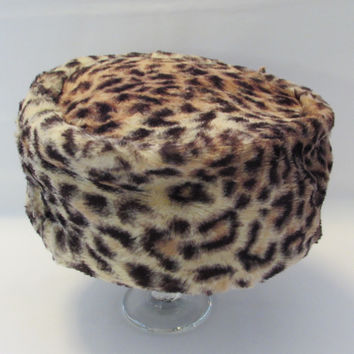 Vintage Leopard Cheetah Spots Pillbox Hat