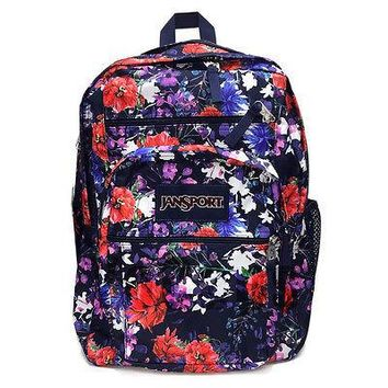 New JanSport Big Student School Backpack Navy Morning Bloom JS00TDN733Y