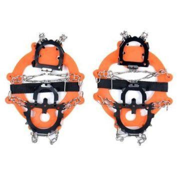 1Pair Ice Snow Shoe Boot Spikes 12-teeth Grips Crampons Cleats Chain Anti-Slip Hiking
