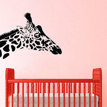 GIRAFFE WALL DECALS HEAD DECAL VINYL STICKER NURSERY BEDROOM DECOR ART  N289