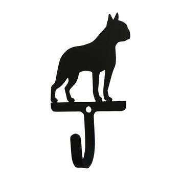 Wrought Iron Boston Terrier Dog Decorative Wall Hook Small