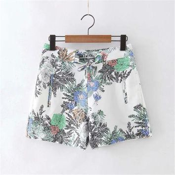 Summer Women's Fashion Print Zippers Shorts [4918908932]