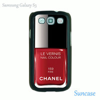 Red Nail Polish -- Samsung Galaxy S3 case in plastic case side in black or white or clear