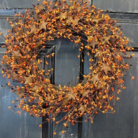 Front Door Wreath - Fall Wreath - Burgundy Orange Rusty Star Pip Berry Wreath - Halloween Wreath, Primitive Wreath, Thanksgiving - Rusty Tin