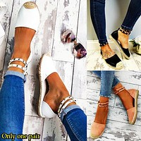 Fashion hot selling thick-soled straw braided side hollow water drill large size sandals ladies sandals sandals ladies Only one pair