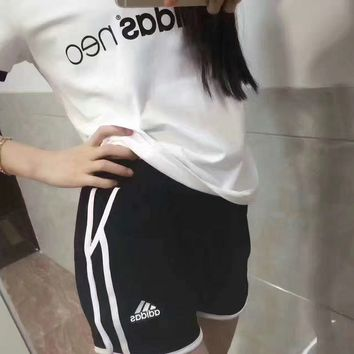 """ Adidas "" Top Tee Leisure Sports Pants Sweatpants Two-Piece"