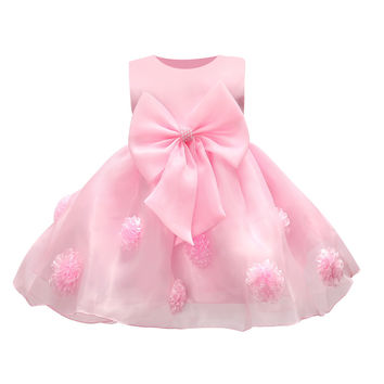 JQ-126  new hot sell baby girl dress lace flower around the kids well beautiful party girls noble pageant wear chic clothes 2017