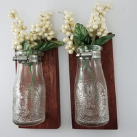 Rustic Home Decor - Wall Flower Vase - Living Room Decor - Reclaimed Wood Wall Sconce - Wall Bud Vase - Red Wall Decor - Milk Bottle Vase