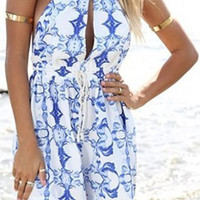 White Printed Cut Out Backless Romper