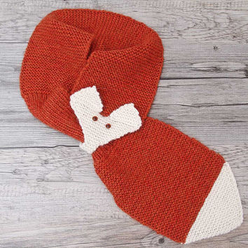 Hand Knit Fox Scarf, Adjustable Neck Warmer with Pull Through Keyhole, Warm Winter Scarf in Brick and Cream for Adults and Teens