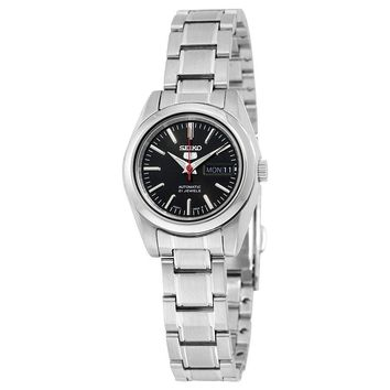 Seiko 5 Automatic Black Dial Stainless Steel Ladies Watch SYMK17