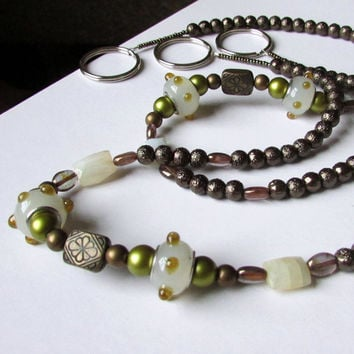 Beaded Tie backs, Olive and Bronze Curtain Tie backs
