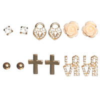 6 On Rhinestone Love Earring Set | Wet Seal