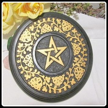 Wooden Pentacle Celtic Altar Tile / Wall Hanging Plaque