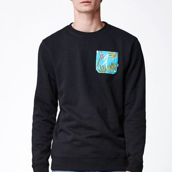 Vans Floral Pocket Crew Neck Sweatshirt - Mens Hoodie - Black