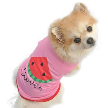 Summer Cute Dog Clothes Puppy Pet Cat Clothes Watermelon Printed Pink Vest Mascotas Ropa Perros Dog Clothes Free Shipping