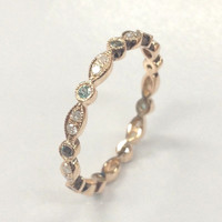 Green Alexandrite Diamond Wedding Band!Eternity Anniversary Ring,14K Rose Gold