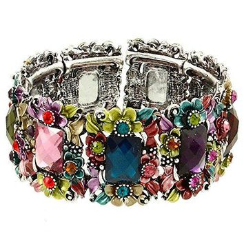 DianaL Boutique Beautiful Multicolor Painted Flower and Crystal Hinged Bangle Bracelet Gift Boxed Fashion Jewelry