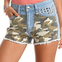 High Waist Studded Camo Short: Charlotte Russe