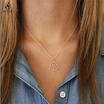 Oly2u Waves Necklace Pendant with Chain Beach Nautical Surfing Jewelry Choker Necklaces for Surfer's Jewelry Ocean Life Necklace