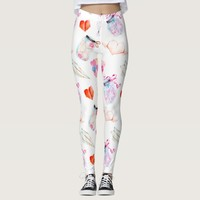 Valentine love watercolor icons pattern leggings