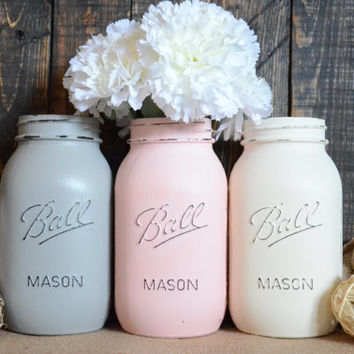Shabby Chic Painted Mason Jars - Set of 3 - Grey - Pink - Cream - Quart Size - Centerpiece - Vase