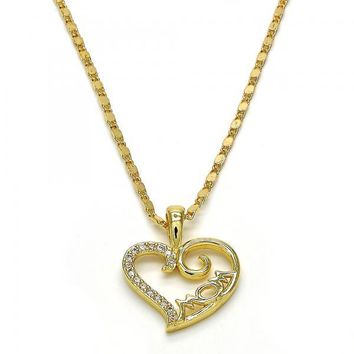 Gold Layered 04.63.1272.18 Fancy Necklace, Heart and Mom Design, with White Micro Pave, Polished Finish, Golden Tone