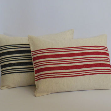 "French Grain Sack Pillows, Red Striped Pillow Covers, Traditional Farmhouse, Home Living Decor 12"" x 16"""