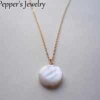 White Shell Necklace Gold Shell Necklace Shell Jewelry Soft White Shell Necklace Natural Necklace Nature Necklace