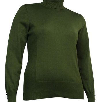 Cable & Gauge Women's Buttoned Long Sleeves Turtleneck Sweater