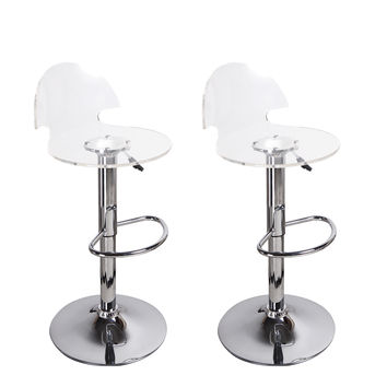 Adeco Transparent Acrylic Hydraulic Lift Adjustable Barstool Chair Chrome Finish Pedestal Base (Set of two)