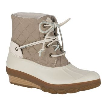 Women's Saltwater Wedge Tide Quilted Nylon Duck Boot in Oat by Sperry - FINAL SALE