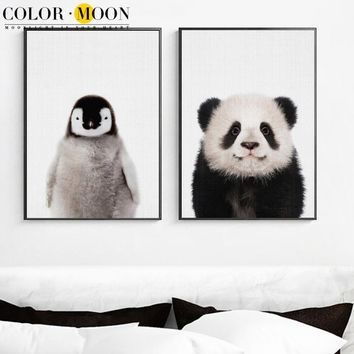 COLORMOON Baby Penguin Panda Wall Art Canvas Painting Nordic Poster Animal Posters And Prints Wall Pictures For Kids Room Decor