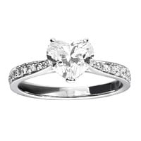 RenéSim Charming Diamond Ring with Heart-Cut Diamond