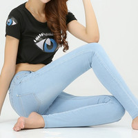 Spring and autumn outfit size women jeans waist slimming feet pencil Blue women jeans women long pants = 5709387713