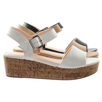Orchis by City Classified Retro Cork Flat Platform Flatform Sandal w Ankle Strap