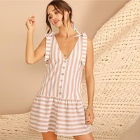 Sailorina Knot Shoulder Striped Dress