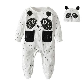 Newborn baby rompers baby boy clothing cotton baby girl clothes long sleeve cartoon panda infant jumpsuit with hat