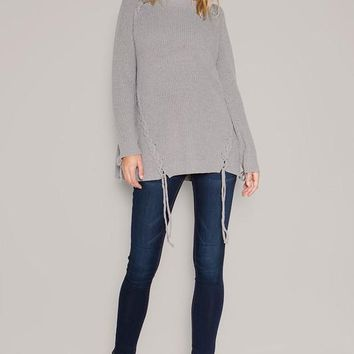 chunky knit lace up front sweater (2 colors)