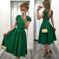 Green Satin Short Sleeves A-Line Homecoming Dresses 2017 Scoop Appliques Beaded Backless Graduation Dress