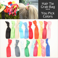 No Crease Hair Tie Grab Bag (15) Knotted Ribbon Hair Ties Gift Set - Emi Jay Like Fabric Hair Bands - Elastic Women's Hair Accessories