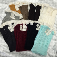 Ladies Crochet Lace & Buttons Boot Cuffs - 7 Colors