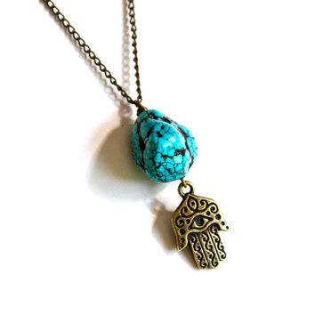 Turquoise Stone and Hamsa Pendant Necklace