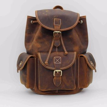 Crazy Horse Cowhide Men Backpack School Bags Knapsack Male Daypack Travel Camputer Bag Vintage 100% Genuine Leather Rucksack New