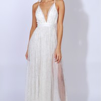 Gown To Party Detailed Maxi White/Gold
