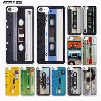 BiNFUL vintage Magnetic tape Cassette audio tape design hard White Case Cover for Apple iPhone 7 6 6s Plus SE 5 5s 5C 4 4s phone