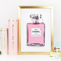 CHANEL PERFUME BOTTLE,Chanel No5,Pink Perfume,Girly Print,Teen Girls Art,Fashion Illustration,Makeup Art,Makeup Illustration,Gift For Her