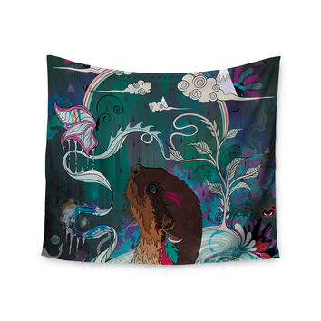"Mat Miller ""Delicate Distraction"" Otter Teal Wall Tapestry"