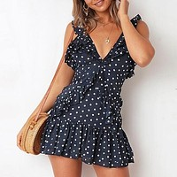 Ruffles Party Dress Polka Dot Boho Beach Casual Dress Deep V Neck Sleeveless Sexy Dress