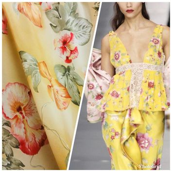 100% Silk Charmeuse French Yellow Floral Print Fabric By The Yard